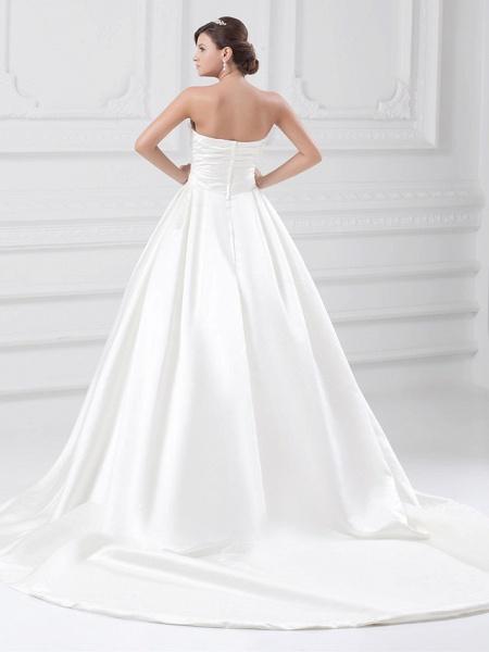 Ball Gown Wedding Dresses Strapless Court Train Satin Strapless Plus Size_4
