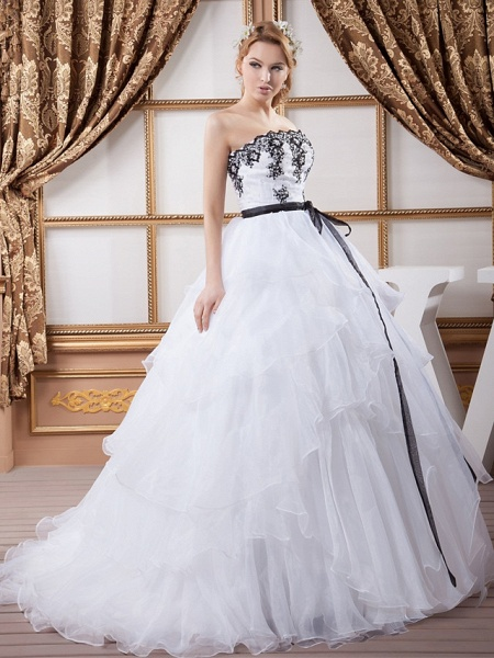 Ball Gown Strapless Court Train Lace Organza Satin Strapless Wedding Dress in Color Wedding Dresses_2