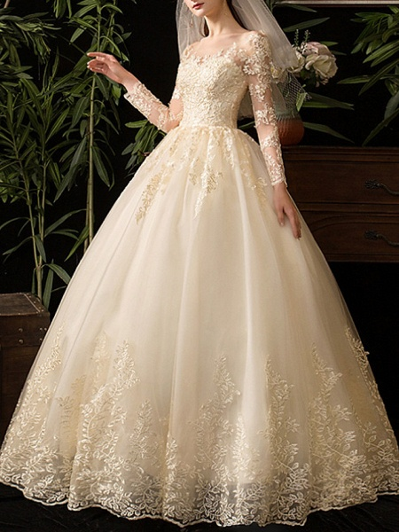A-Line Wedding Dresses Scoop Neck Floor Length Lace Long Sleeve Glamorous See-Through Illusion Sleeve_3