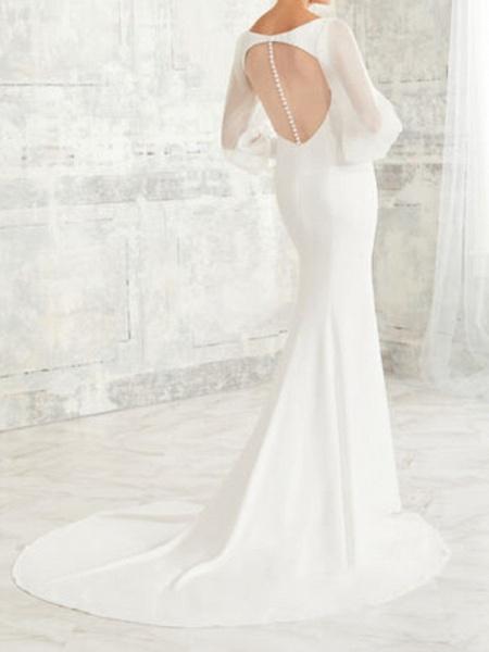 Mermaid \ Trumpet Wedding Dresses V Neck Court Train Tulle Stretch Satin Long Sleeve Simple Illusion Sleeve_2