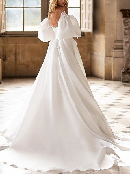 A-Line Wedding Dresses Off Shoulder Sweep \ Brush Train Satin Half Sleeve Country Plus Size_2