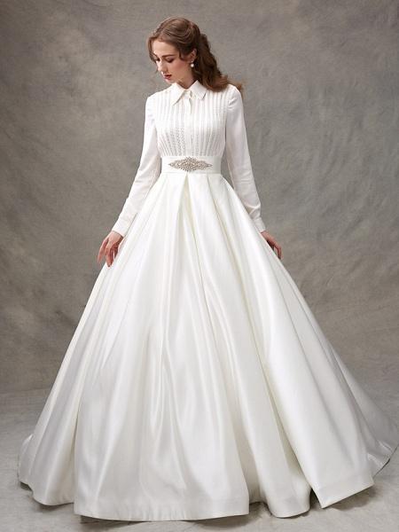 Ball Gown Wedding Dresses High Neck Sweep \ Brush Train Satin Long Sleeve Glamorous Sparkle & Shine_7