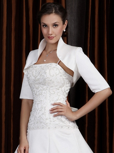 A-Line Wedding Dresses Square Neck Cathedral Train Satin Half Sleeve Vintage Separate Bodies_4