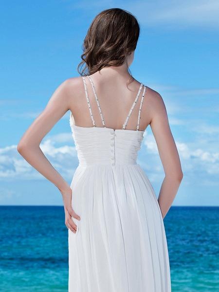 A-Line Wedding Dresses V Neck Floor Length Chiffon Regular Straps Casual Beach Backless_6