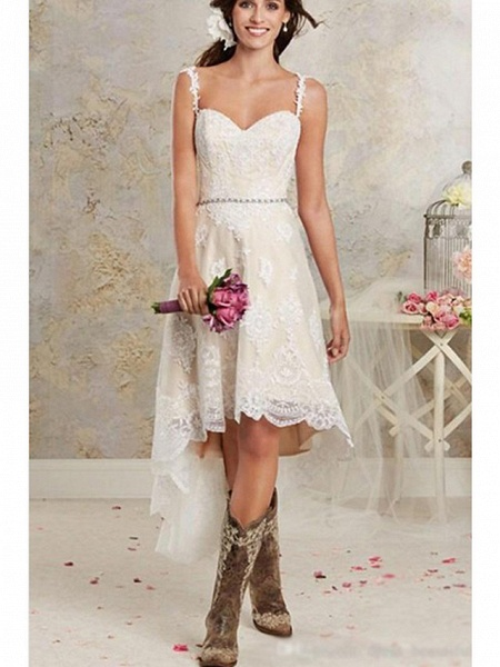 A-Line Wedding Dresses Sweetheart Neckline Sweep \ Brush Train Asymmetrical Lace Tulle Lace Over Satin Spaghetti Strap Cute_3