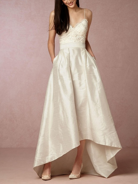A-Line Wedding Dresses V Neck Asymmetrical Satin Sleeveless Formal Little White Dress_1