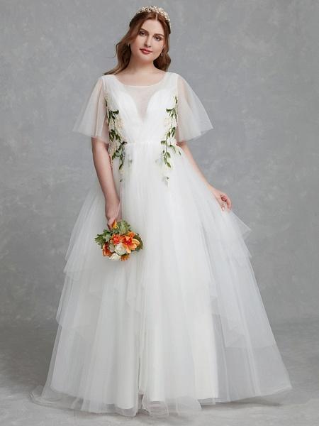 A-Line Wedding Dresses Jewel Neck Sweep \ Brush Train Tulle Short Sleeve Casual Boho Plus Size_5