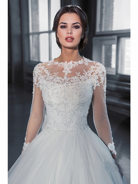 A-Line Off Shoulder Court Train Lace Long Sleeve Sexy Wedding Dresses_3