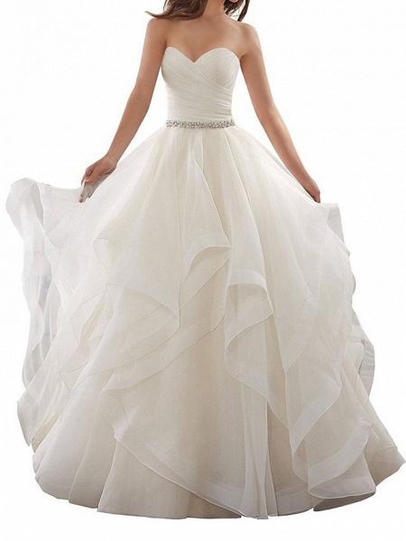 A-Line Wedding Dresses Sweetheart Neckline Chapel Train Organza Strapless Plus Size_1