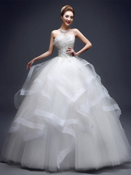 Ball Gown Wedding Dresses Strapless Floor Length Lace Tulle Strapless Sexy Red_4