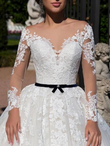 A-Line Off Shoulder Tea Length Tulle Short Sleeve Vintage Sexy Wedding Dress in Color See-Through Wedding Dresses_2