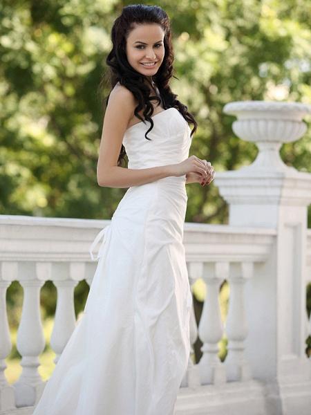 Mermaid \ Trumpet Wedding Dresses Strapless Court Train Taffeta Short Sleeve_5