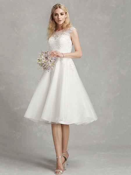 A-Line Wedding Dresses Jewel Neck Tea Length Lace Tulle Cap Sleeve Beautiful Back_1
