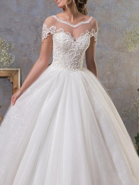 A-Line Wedding Dresses Jewel Neck Court Train Lace Tulle Short Sleeve Vintage Sexy See-Through Backless_3