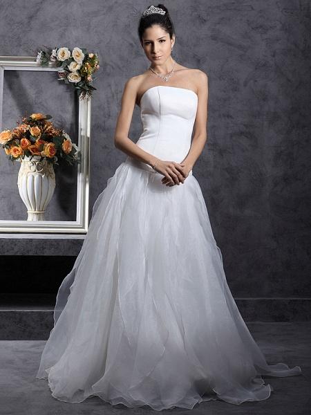 Princess A-Line Wedding Dresses Strapless Organza Satin Sleeveless_4