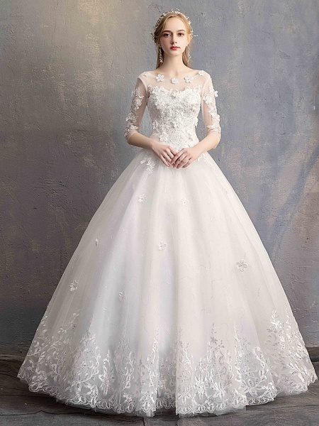 Ball Gown Wedding Dresses Scoop Neck Floor Length Lace Tulle Lace Over Satin Half Sleeve Country Vintage Illusion Sleeve_1