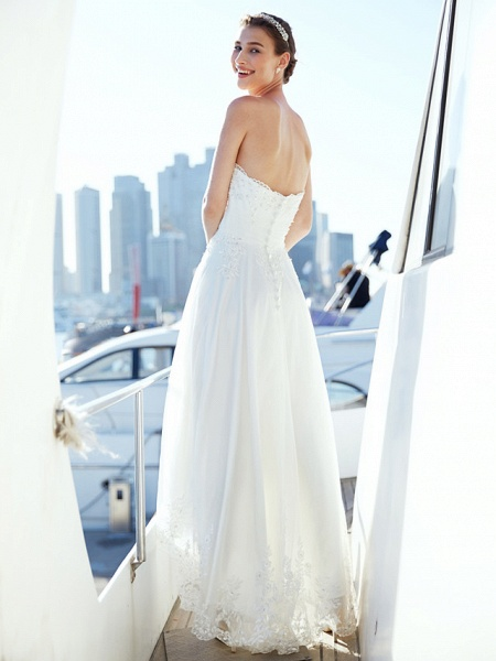 A-Line Wedding Dresses Strapless Asymmetrical Tulle Strapless Casual Beach Little White Dress Backless_2