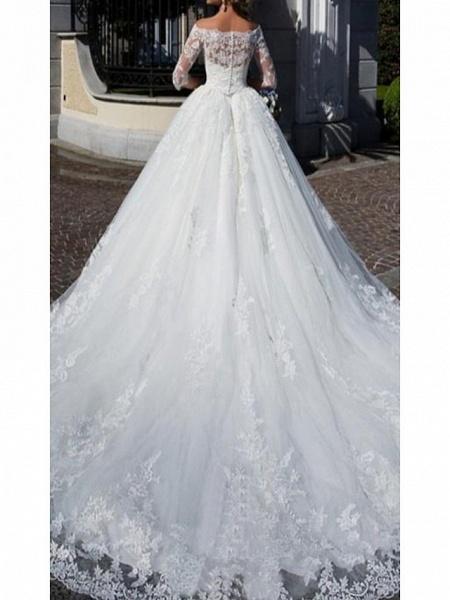 A-Line Wedding Dresses Off Shoulder Chapel Train Lace Half Sleeve_2