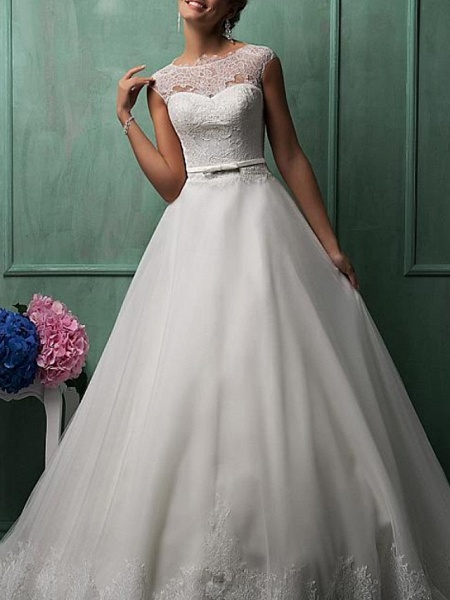 Ball Gown A-Line Wedding Dresses Jewel Neck Sweep \ Brush Train Lace Tulle Cap Sleeve Formal See-Through_3