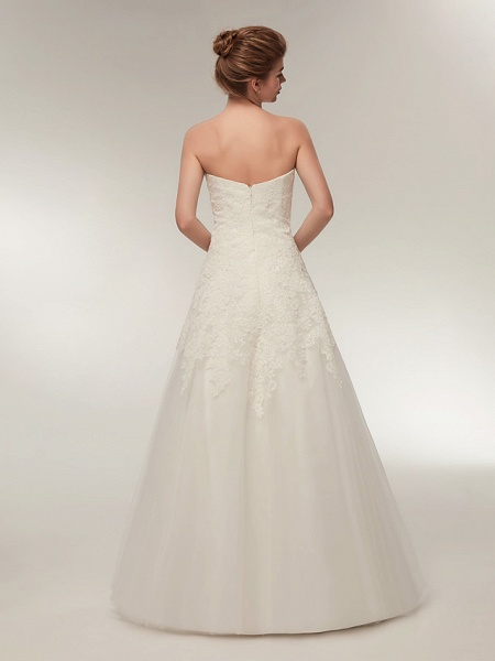 A-Line Wedding Dresses Strapless Floor Length Lace Tulle Strapless Formal Illusion Detail_5