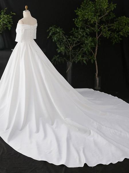 A-Line Wedding Dresses Off Shoulder Court Train Satin Half Sleeve Simple Elegant_4