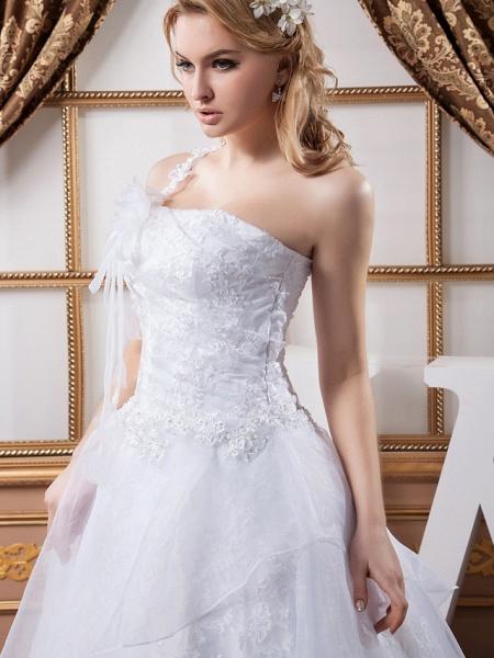 A-Line One Shoulder Court Train Lace Organza Satin Spaghetti Strap Wedding Dresses_5
