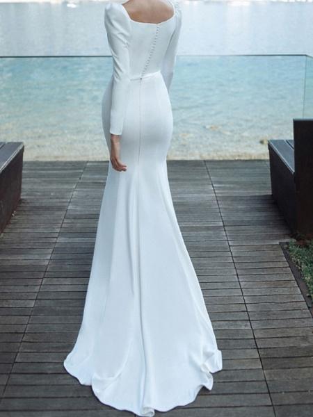 Mermaid \ Trumpet Wedding Dresses Scoop Neck Sweep \ Brush Train Chiffon Over Satin Long Sleeve Country Plus Size_3
