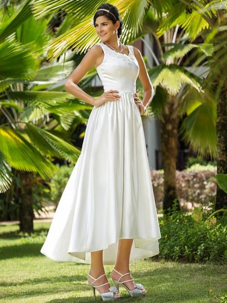 Princess A-Line Wedding Dresses Scoop Neck Asymmetrical Satin Sleeveless_3