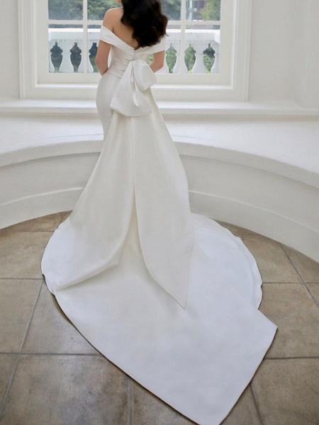 Lt8036994 White Boho Mermaid Off The Should Wedding Dress_2