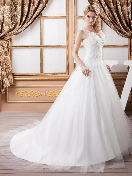 A-Line V Neck Court Train Lace Satin Tulle Spaghetti Strap Wedding Dresses_2