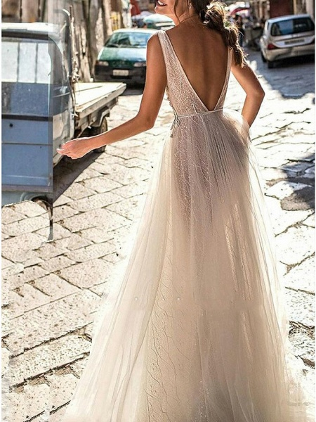 A-Line Wedding Dresses V Neck Floor Length Tulle Regular Straps Boho Illusion Detail Plus Size Backless_2