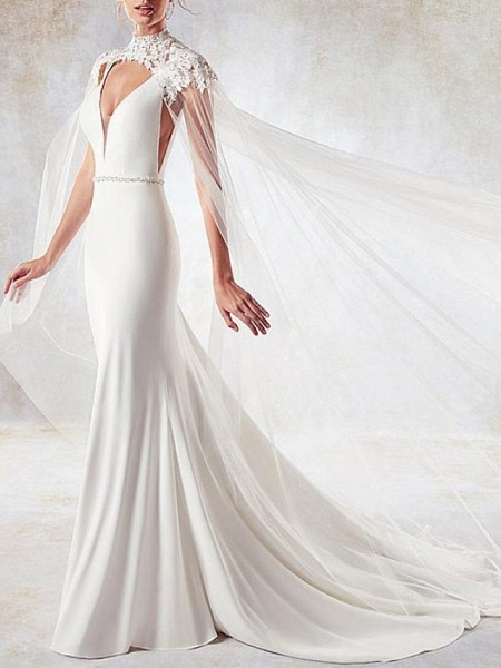 Mermaid \ Trumpet Wedding Dresses V Neck Sweep \ Brush Train Lace Tulle Stretch Satin Sleeveless Simple Sexy Backless Cape_1