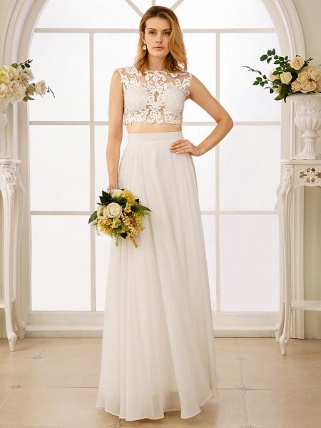 Princess Two Piece Wedding Dresses Jewel Neck Floor Length Chiffon Sleeveless See-Through Beautiful Back Crop Top_3