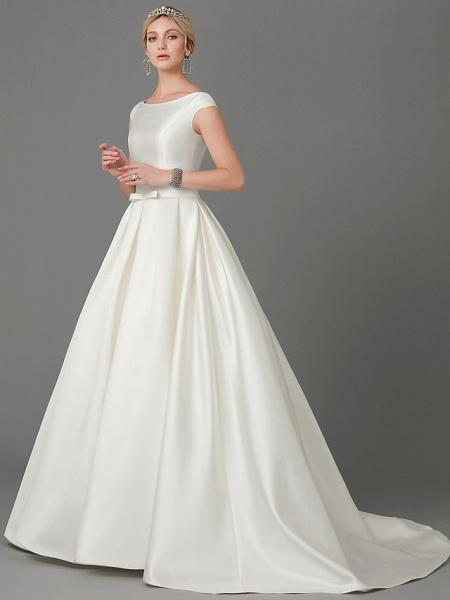 Princess Wedding Dresses Bateau Neck Court Train Satin Short Sleeve_3