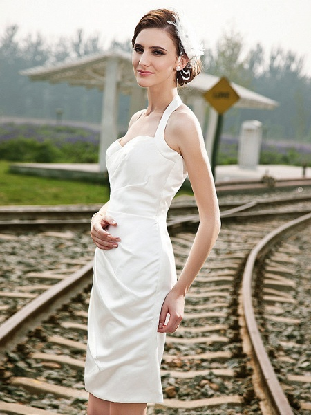Sheath \ Column Wedding Dresses Halter Neck Short \ Mini Satin Regular Straps Little White Dress_6