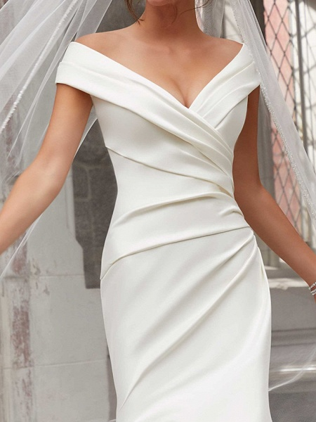 Mermaid \ Trumpet Wedding Dresses Off Shoulder Sweep \ Brush Train Polyester Cap Sleeve Country Plus Size_4
