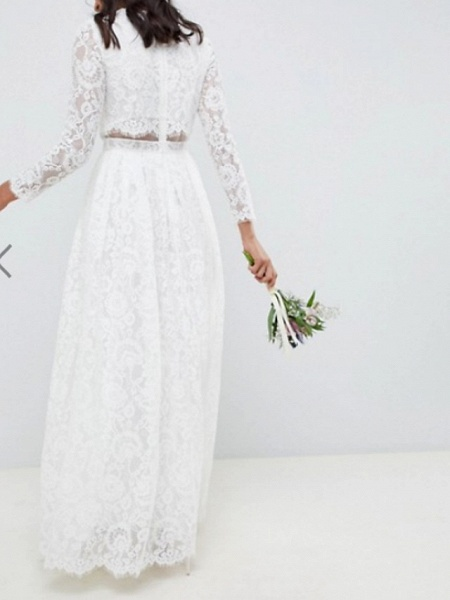 Two Piece A-Line Wedding Dresses Jewel Neck Floor Length Lace Polyester Long Sleeve Casual Boho Plus Size_3