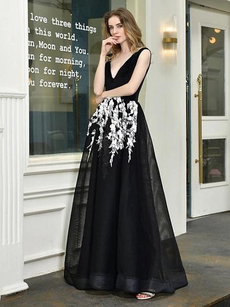 A-Line Wedding Dresses V Neck Floor Length Lace Tulle Regular Straps Sexy Black Modern_3
