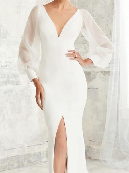 Mermaid \ Trumpet Wedding Dresses V Neck Court Train Tulle Stretch Satin Long Sleeve Simple Illusion Sleeve_3