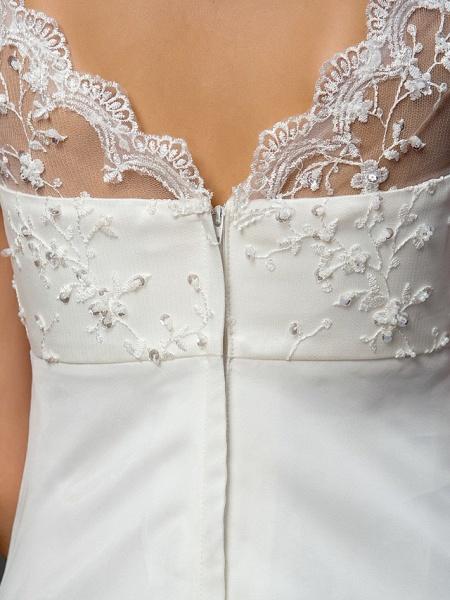 A-Line Wedding Dresses V Neck Court Train Lace Organza Short Sleeve Simple Vintage Little White Dress_8