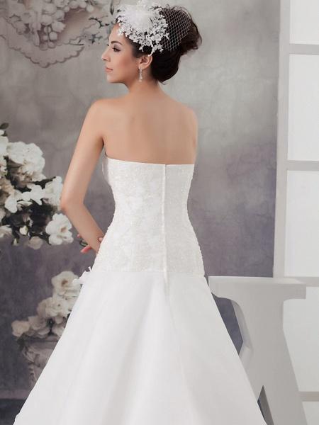 A-Line Sweetheart Neckline Chapel Train Organza Satin Strapless Wedding Dresses_5