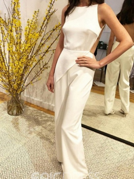 Jumpsuits Wedding Dresses Jewel Neck Floor Length Satin Sleeveless Simple Sexy Backless Modern_3