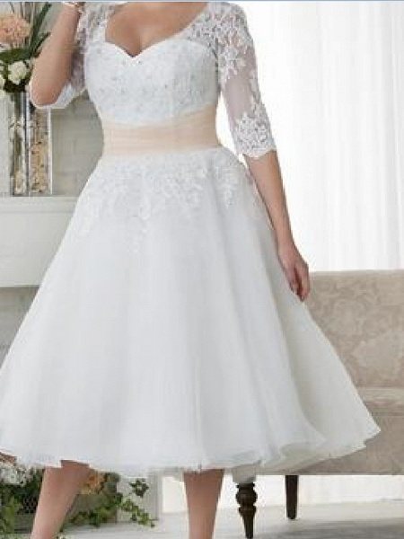Ball Gown A-Line Wedding Dresses Scoop Neck Tea Length Lace Tulle Half Sleeve Country Plus Size_3