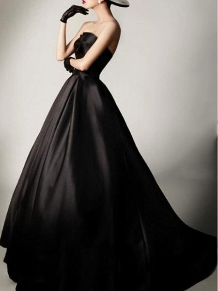 A-Line Wedding Dresses Sweetheart Neckline Sweep \ Brush Train Satin Strapless Formal Black_2