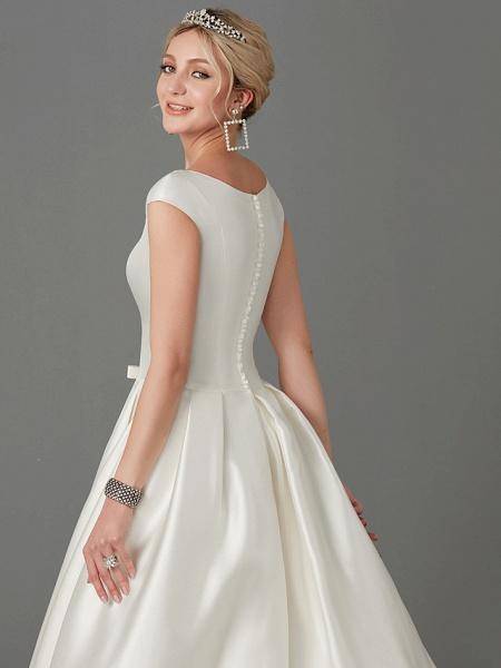 Princess Wedding Dresses Bateau Neck Court Train Satin Short Sleeve_7