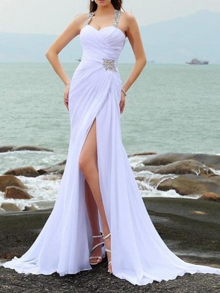 Mermaid \ Trumpet Wedding Dresses Sweetheart Neckline Court Train Chiffon Taffeta Cap Sleeve Country Plus Size_1