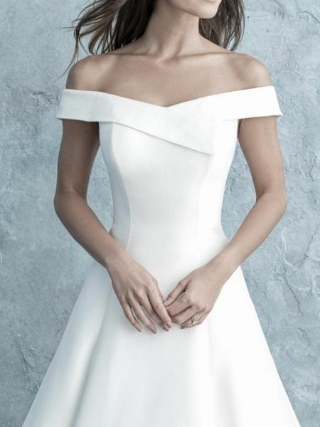 A-Line Wedding Dresses Off Shoulder Floor Length Satin Short Sleeve Simple Backless_3