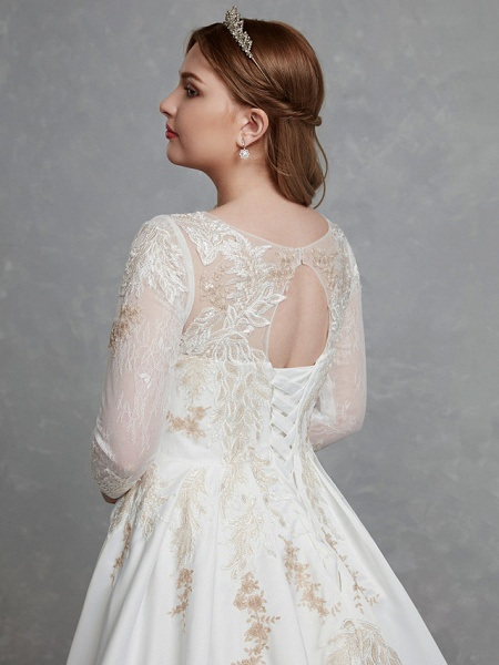 A-Line Wedding Dresses Scoop Neck Court Train Lace Satin Long Sleeve Romantic Glamorous See-Through Illusion Sleeve_7