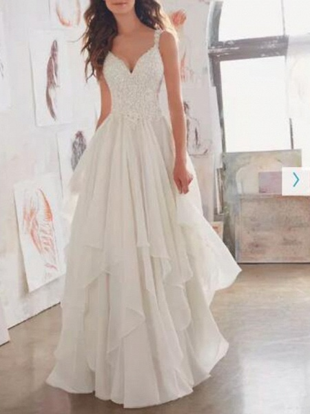 A-Line Wedding Dresses Sweetheart Neckline Sweep \ Brush Train Chiffon Lace Spaghetti Strap Sexy See-Through Illusion Detail Backless_1