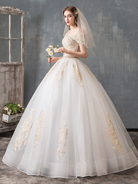 Ball Gown Wedding Dresses Off Shoulder Floor Length Lace Tulle Polyester Cap Sleeve Romantic Sexy_2